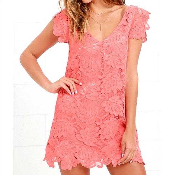 d6bdedbee76 BB Dakota Dresses   Skirts -  NWOT  BB DAKOTA CORAL PINK LACE SHIFT DRESS